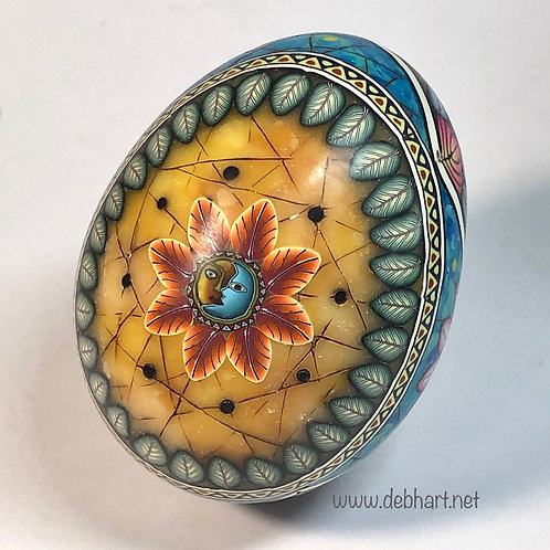 Amber/Turquoise/Black Marble Oval Frame Easter Egg