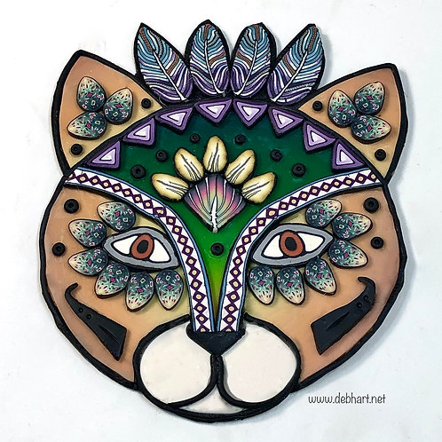 Tribal Cat pin - orange/green