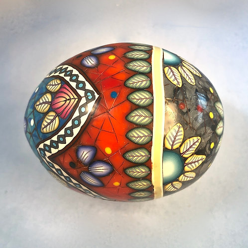 Turquoise/Black Marble/Red Coral Stripes & ZigZag Easter Egg