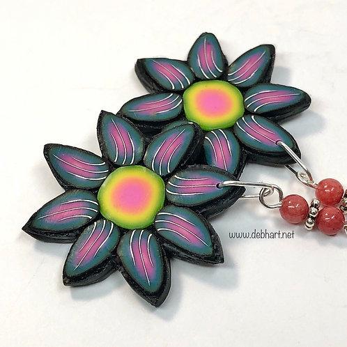 Flower Power Earrings - Midnight/Sunset