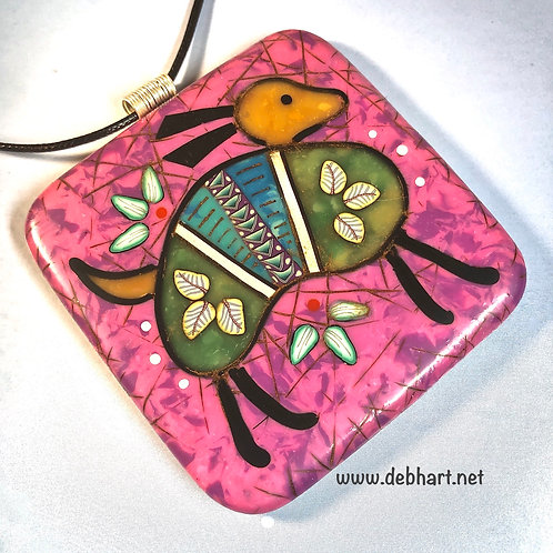 Armadillo Petroglyph Pendant - Purple Background