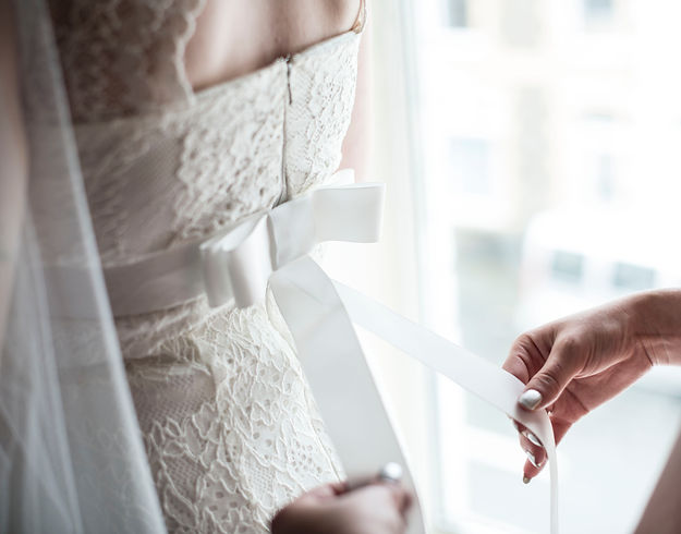 Wedding dress, bridal prep