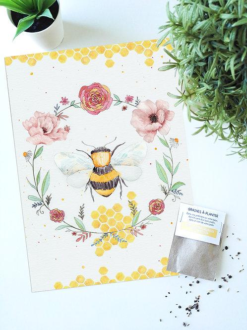 Peinture « Queen Bee » Aquarelle + sachet de graines à planter