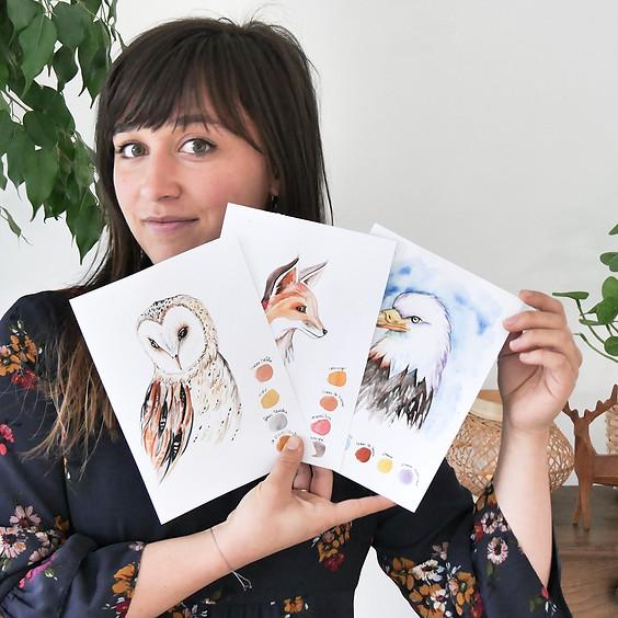 """Cours en ligne d'apprentissage d'aquarelle """"RENCONTRE AVEC LE PEUPLE ANIMAL"""""""