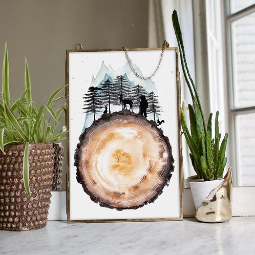 Peinture « Coeur De La Forêt » Aquarelle