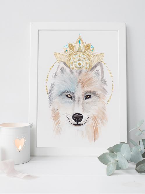 Peinture « Loup Totem » Aquarelle
