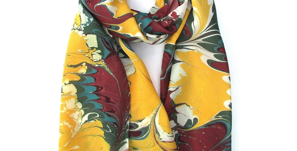 Watermarbling Hand Dyed Palm Silk Scarf