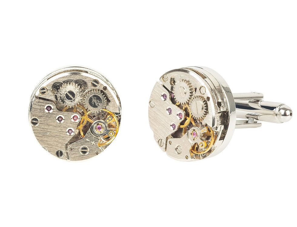 Watch Movement Cufflink Silver