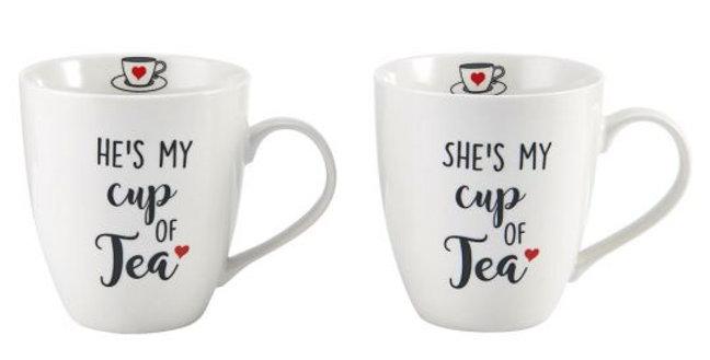 Juego de 2 tazas de él y ella es mi taza de té