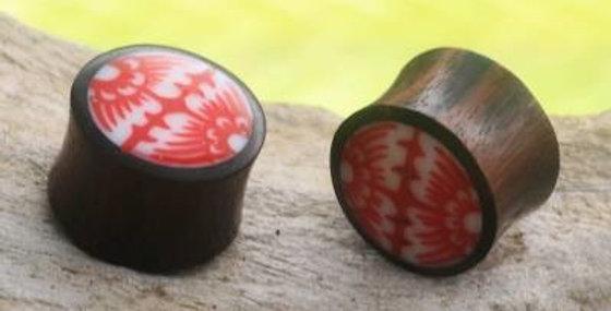 سدادات خشبية مصنوعة يدويًا من الخشب - زهرة قبلية حمراء وبيضاء