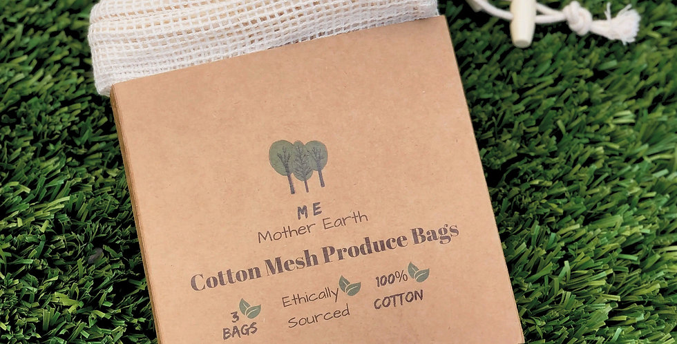 Drawstring 100% Cotton Mesh Produce Bags 3 PK.