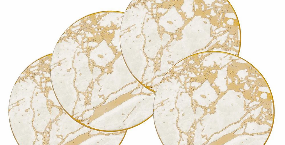 Crystalline Gold Trimmed Celestite  Drink Coaster Set
