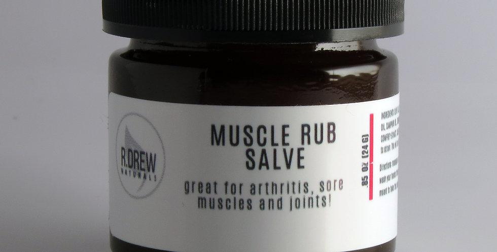R. Drew Naturals -Muscle Rub Salve 0.85 oz. -Mini