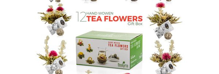 Flowering Blooming Tea Gift Box, 12 pcs Shapes & Flavors