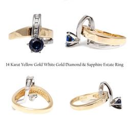 14 Karat Yellow Gold White Gold Diamond