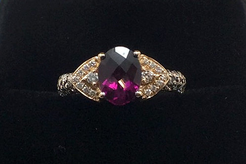 14k Rose Gold Levian Garnet & Diamond .33CT Ring