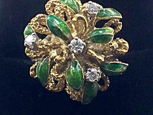 20CT Diamond & Enamel Ring, 14k Yellow Gold