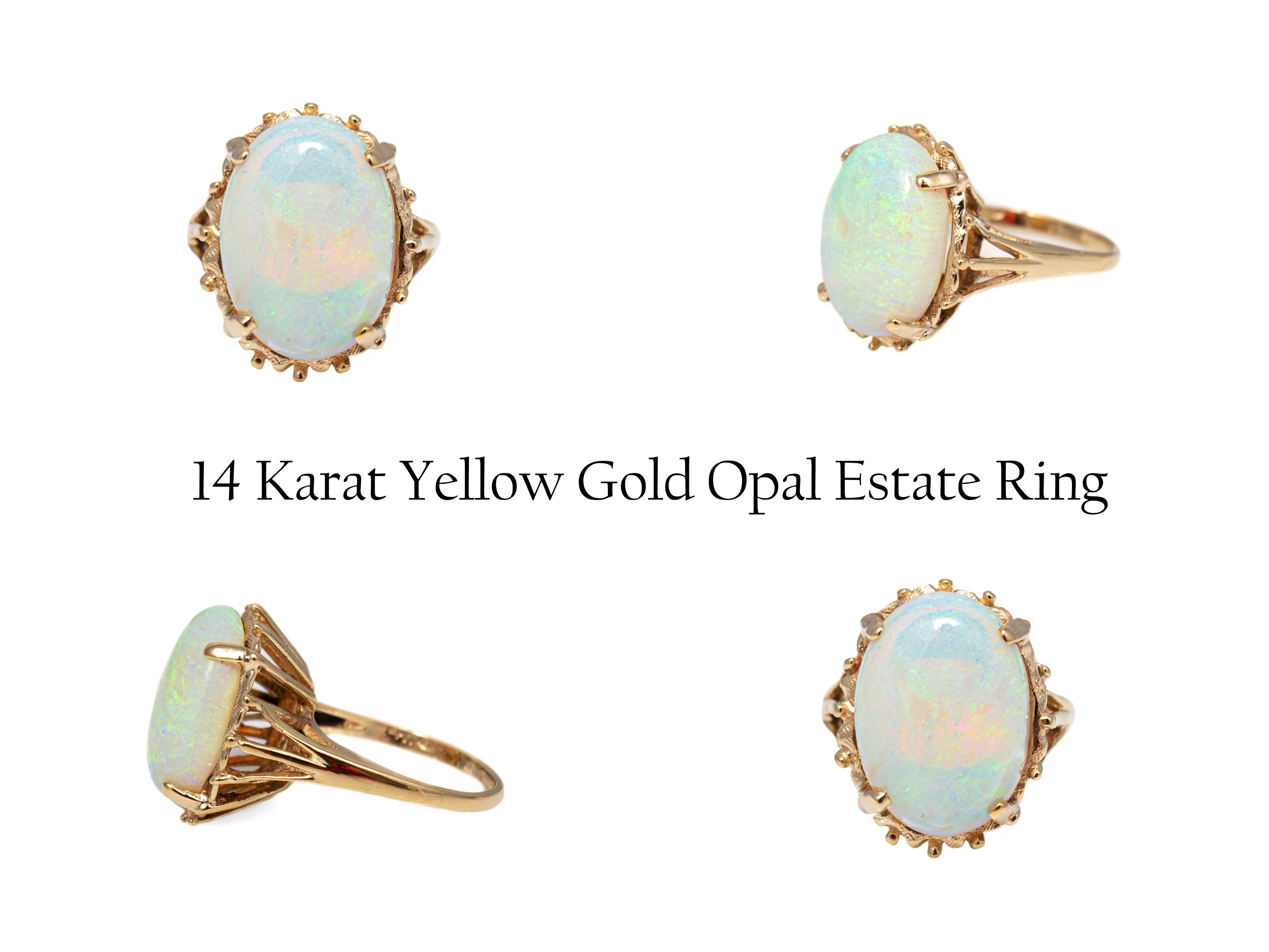 14 Karat Yellow Gold Opal Estate Ring