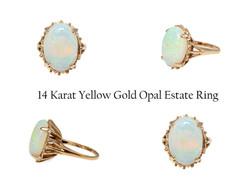 14 Karat Yellow Gold Opal Estate Ring