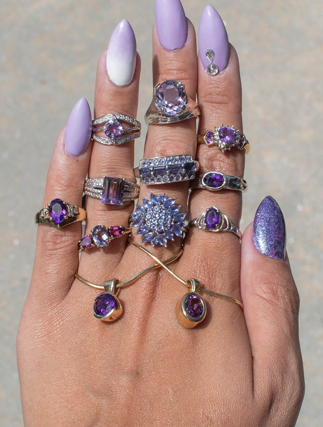 Purple haze with amethysts, iolites, tan