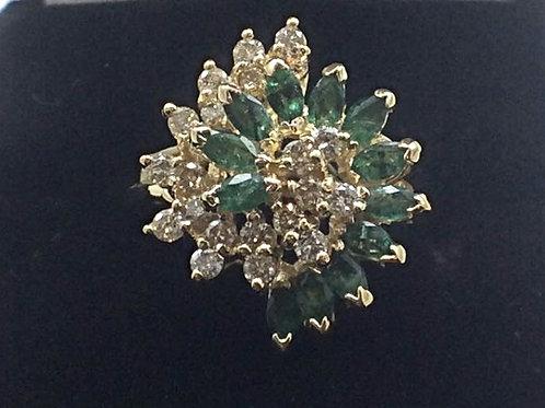 14k Yellow Gold .75CT Emerald .50CT DiamondRing