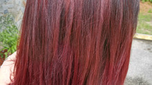 Haircut, Highlights and Color Melt with Lanza Red Violet Hair Color!!