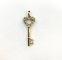 14 Karat Yellow Gold Diamond Heart Key Pendant
