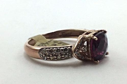 Rose Gold 14k Levian Garnet & Diamond .33CT Ring