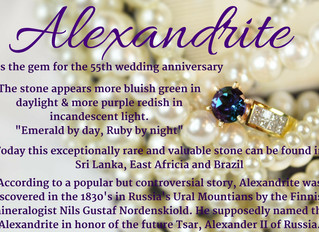 June can be celebrated with a 2nd birthstone, the rare and valuable Alexandrite.