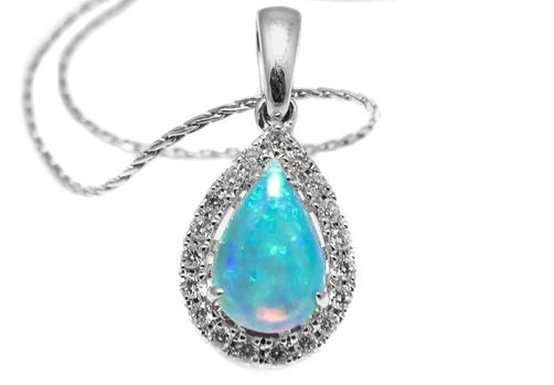 Opal Halo Pendant