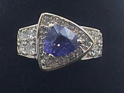 14k White Gold1.5CT Tanzanite 1.0CT Diamonds Ring