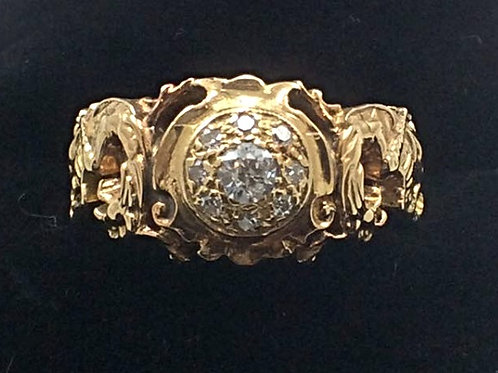 14k Yellow Gold Mine Cut Diamond 5th CT Dragon Ring