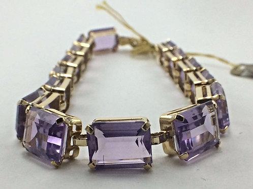 14k Yellow Gold 15 5x7 Amethyst Bracelet