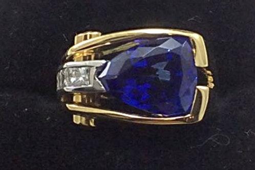 Platinum & 18k Yellow Gold Tanzanite, Diamond, Emerald Ring