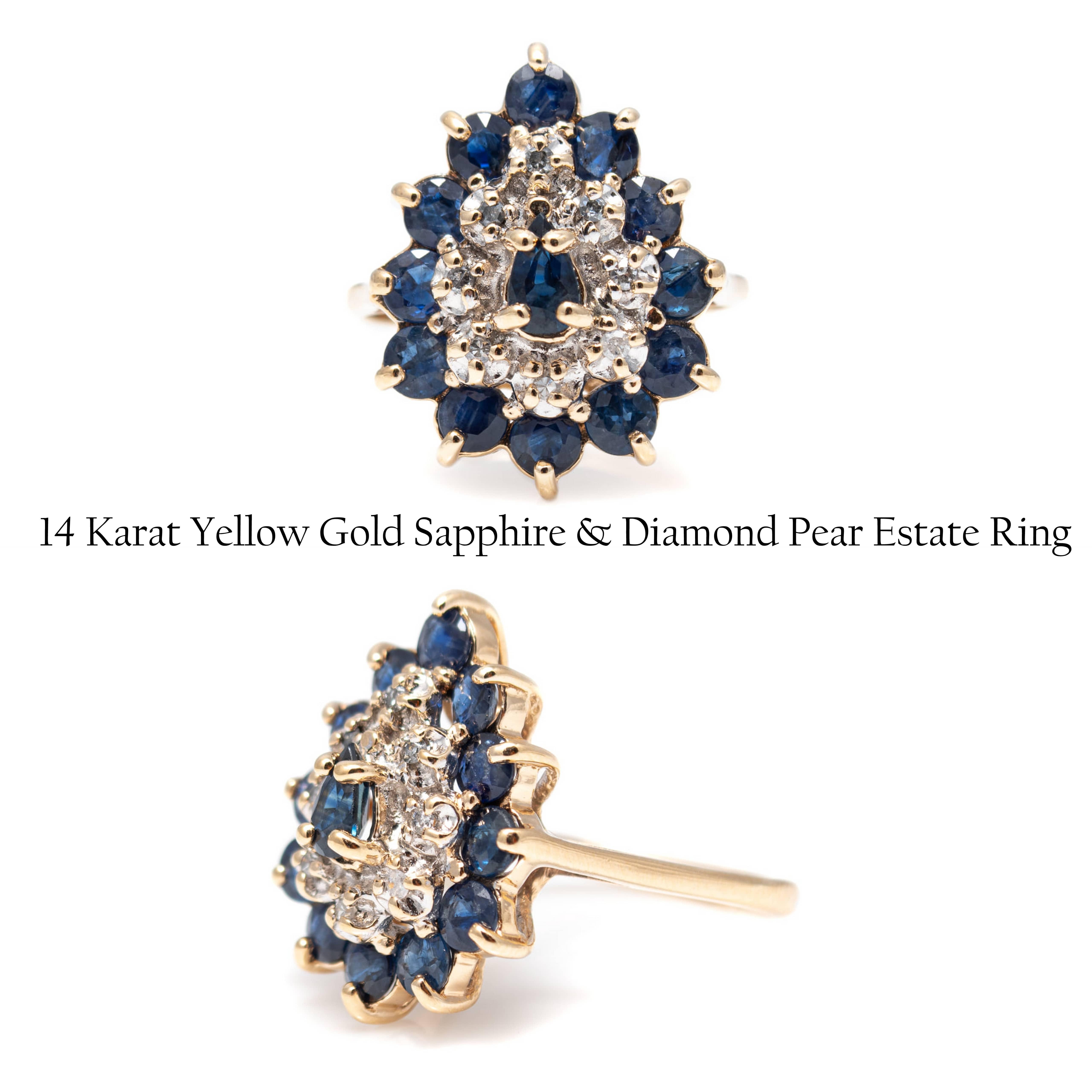 14 Karat Yellow Gold Sapphire & Diamond