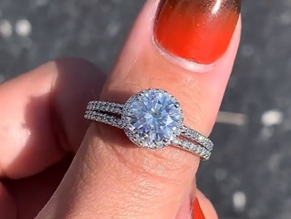 A beautiful diamond and moissanite band and engagement ring.