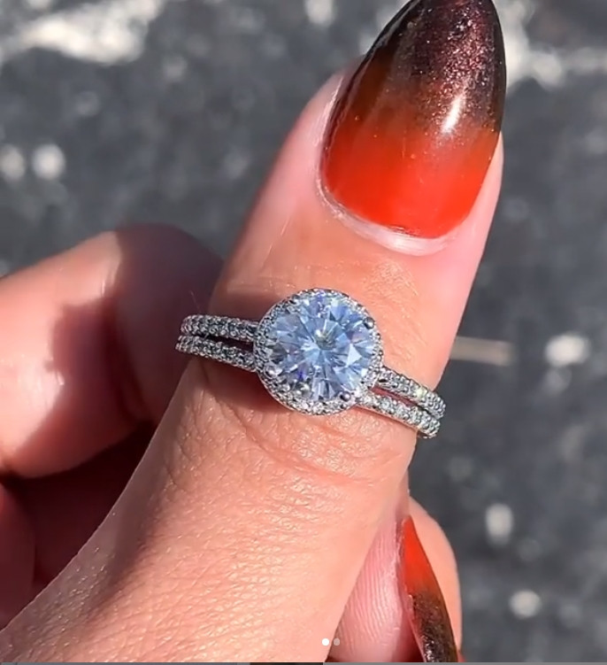 Moissanite band and engagement ring
