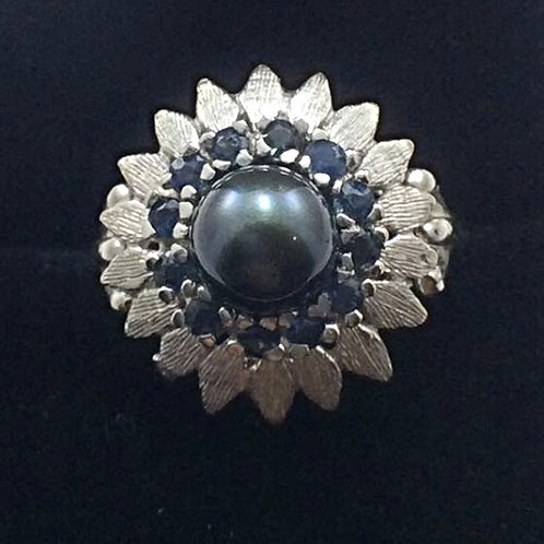 14k White Gold Pearl & Sapphire Ring