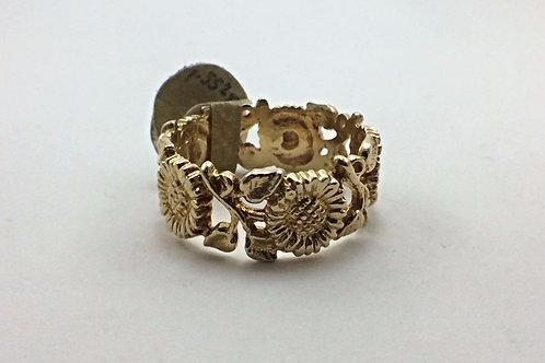 14k Yellow Gold Sunflower Ring