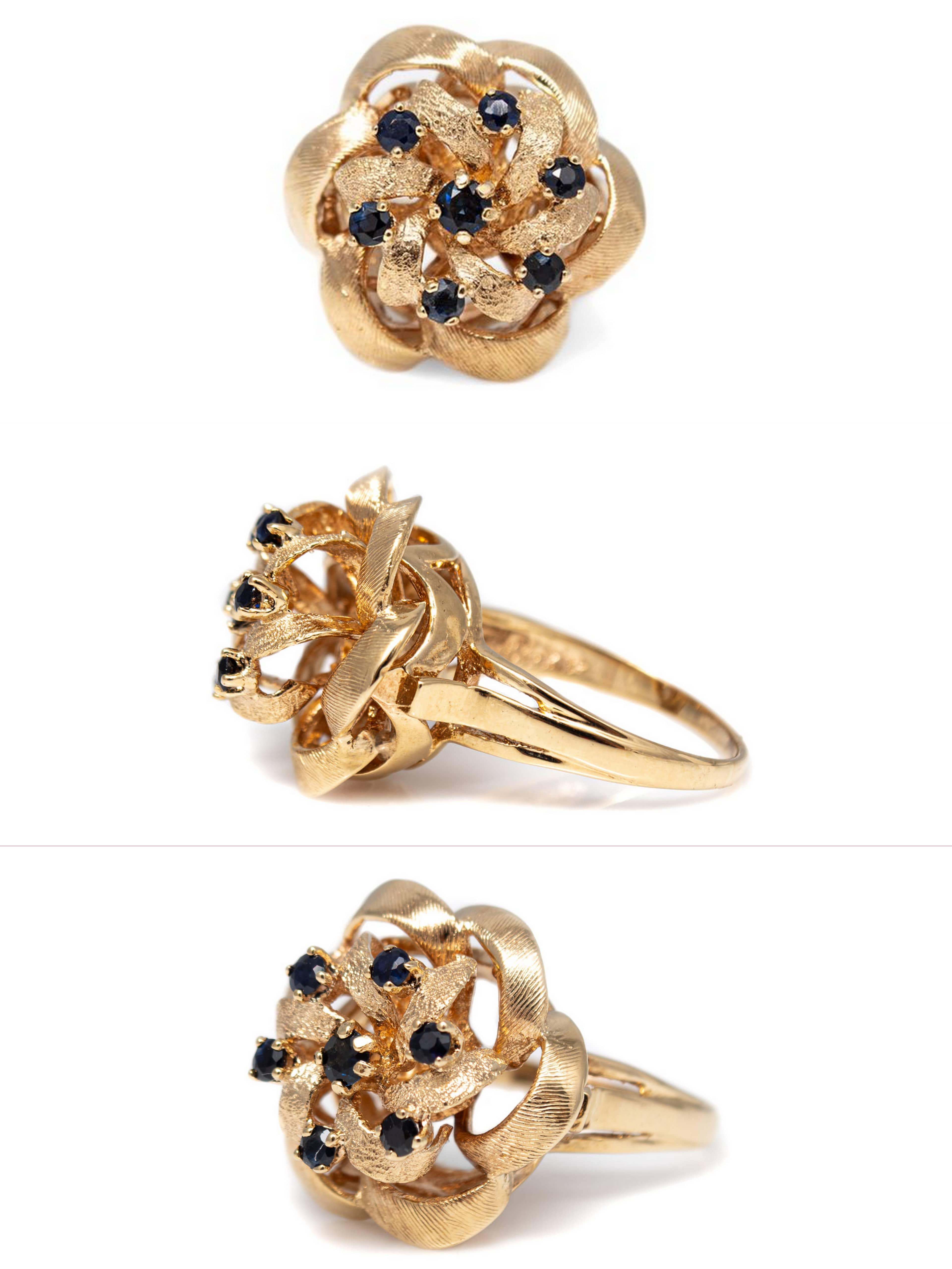 14 Karat Yellow Gold Sapphire Flower