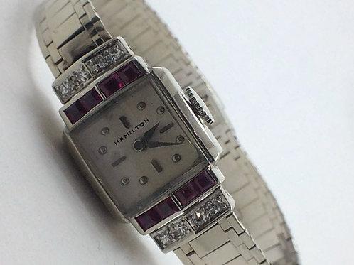 Hamilton Wrist Watch -14k White Gold Ruby & Diamond
