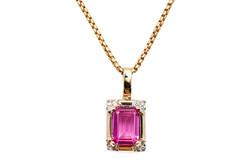 pink emerald cut pendant