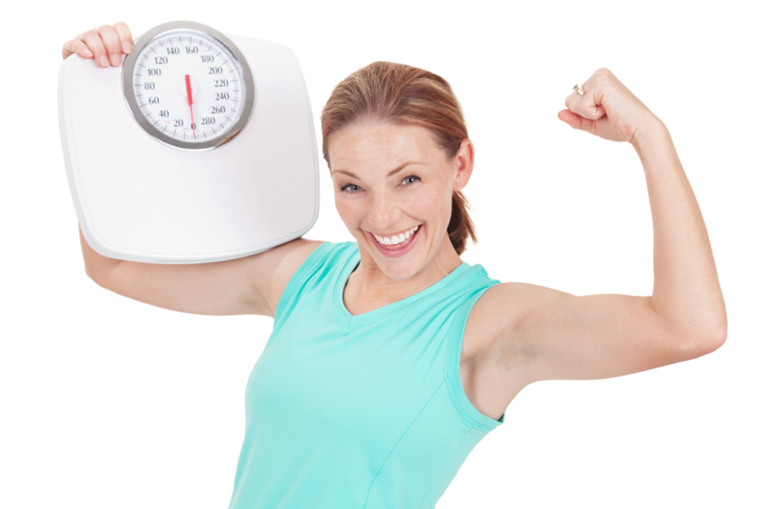 Woman with Weigh Scale Machine