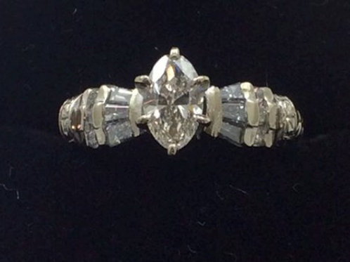 14k White Gold .50CT Center .30CT Sides Diamond Ring