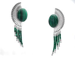 Sterling Silver Green Malachite Dangle E