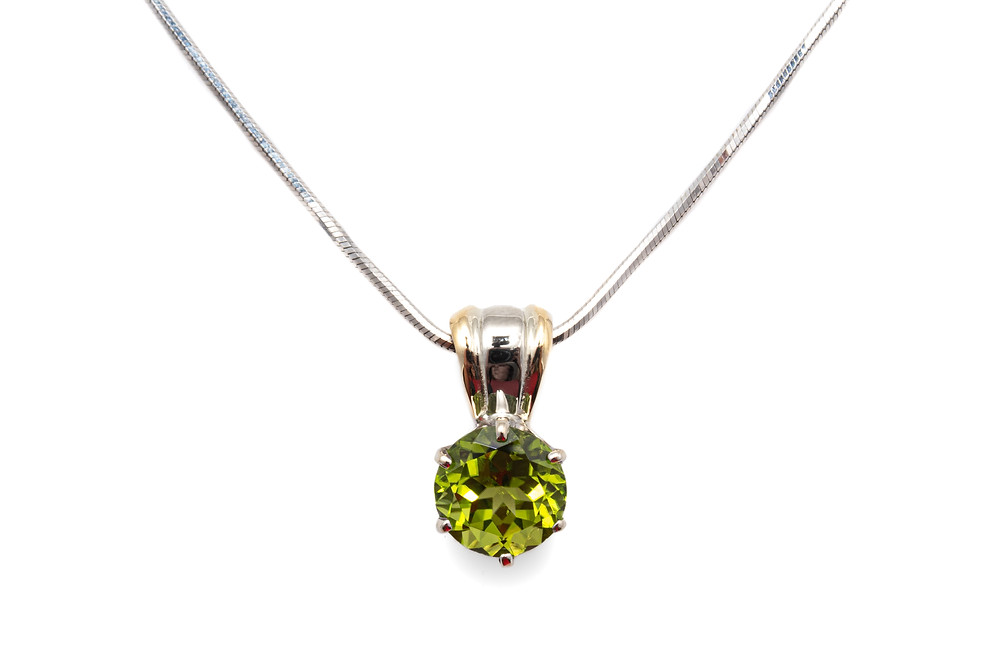 14 Karat 2 Toned Gold Peridot Estate Necklace