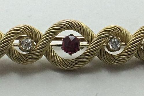14k Yellow Gold Ruby & Diamond Pin