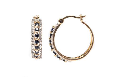 Gold Filled Sapphire Estate Hoop Earrings