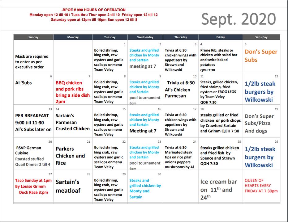 Sept 2020 Calendar