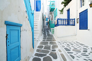 Picturesque cobblestone street in Greece